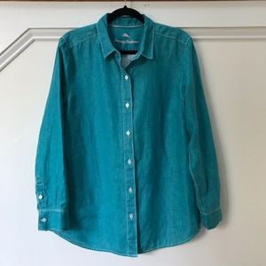 Tommy Bahama Teal 100% Linen Button Up Size Large